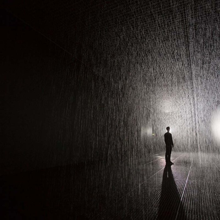Rain Room at MoMA, X1, immersive interactive installation with falling water that doesn't get you wet. cool art. Fun in NYC