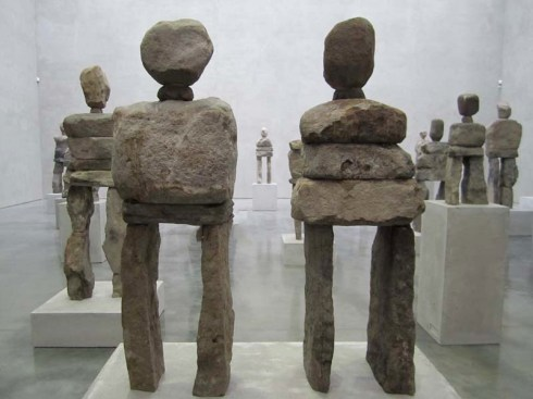 Ugo Rondinone, Soul, Gladstone Gallery, NYC, Stone Sculptures, Stone human figures, Human Nature, Public Art Fund, Rockefeller Center