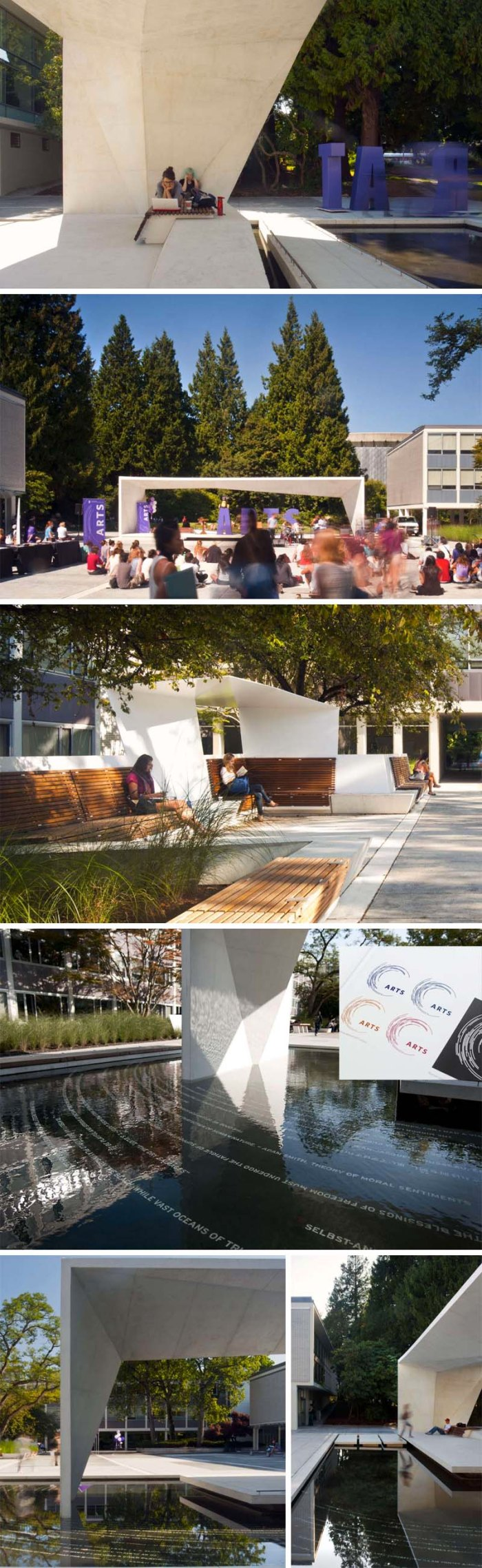 UBC Buchanan Courtyard Renewal by Public Design in Vancouver, British Columbia. Cool seating and plaza area, with type circles in fountain emulating logo.