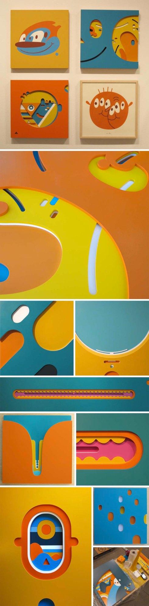 Chu Doma, Julian Pablo Manizelli, argentinean street artist, colorful, multilayer, sculpture, illustration