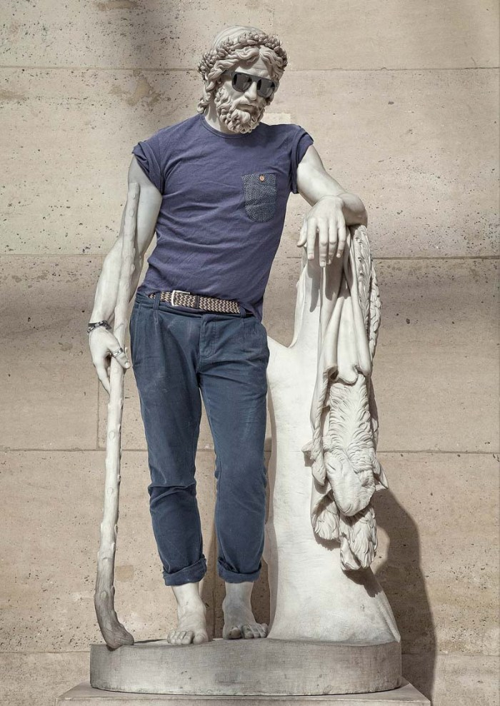 classic stone statues dressed in contemporary hip clothing, leo caillard photographer, Alexis Persani retoucher