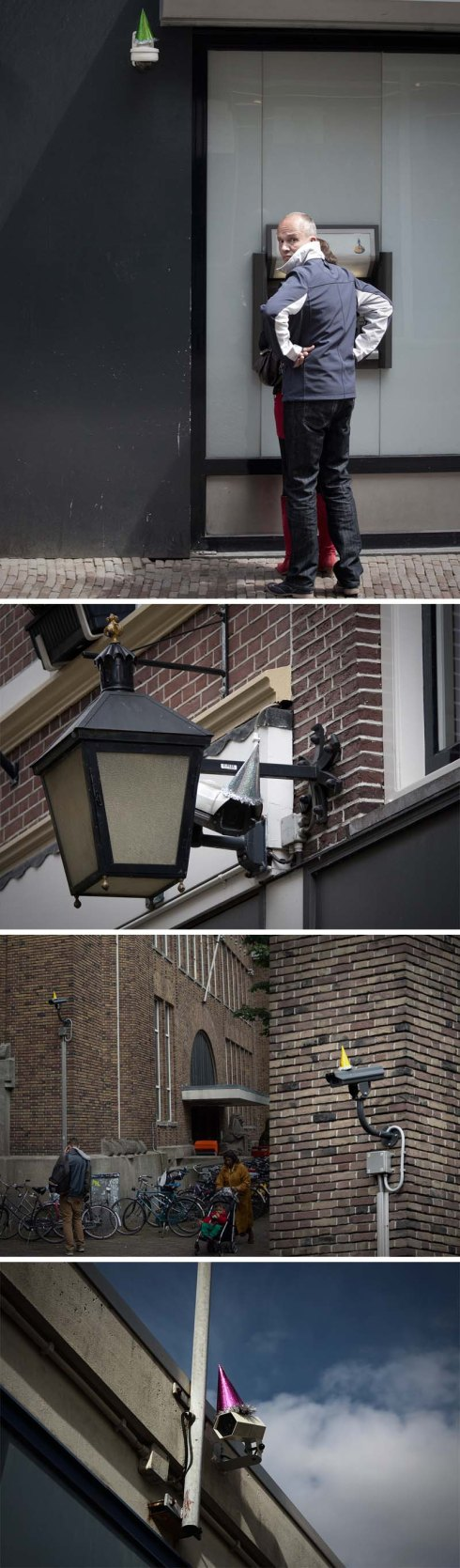 Surveillance Cameras with party hats in Utrecht, Netherlands, in honor of George Orwell's Birthday, Front404, street art