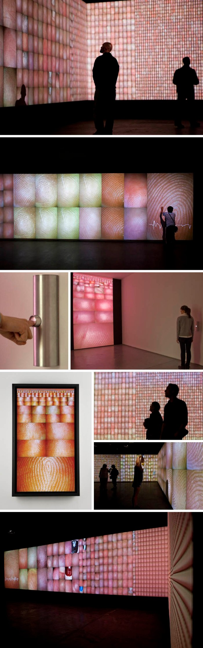 Pulse Index, a cool interactive art installation by Rafael Lozano-Hemmer, records participants' fingerprints at the same time as it detects their heart rates.