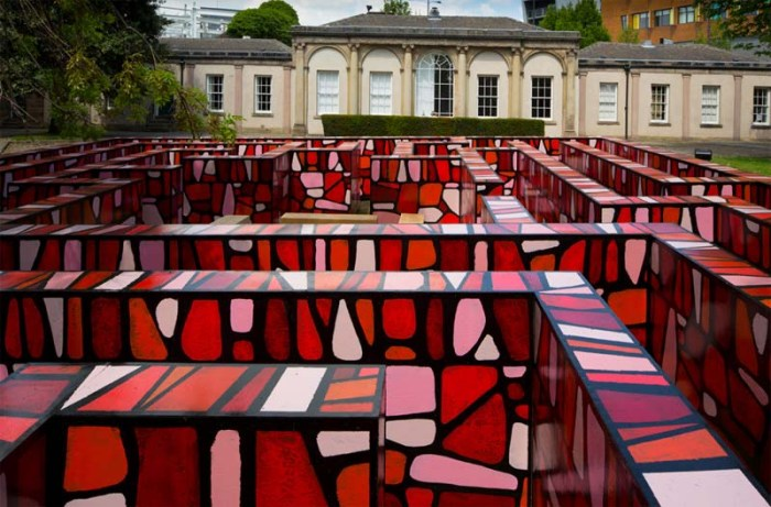 Richard Woods, A Maze for Yorkshire, the Orangery, Wakefield, Faux cartoon stone wall maze