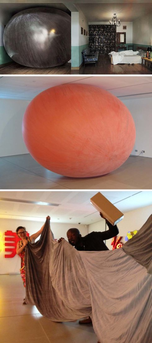 Even in Fear, Zhoun Xiaohu, Contemporary Chinese Art installation, White Rabbit Gallery, Smash Palace, exploding balloon