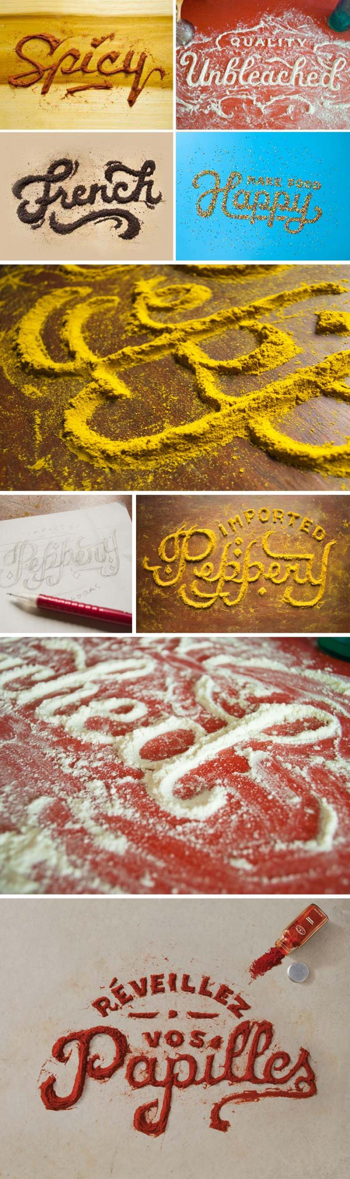 Food Typography, Type made with food, Danielle Evans project for Target's Food for thought campaign