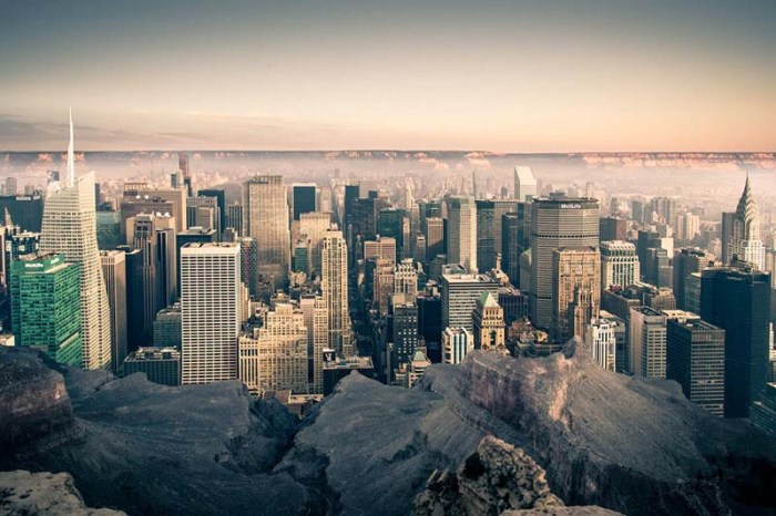 Gus Petro, contemporary photography, imagining NYC in Grand Canyon, Empty, Dense combined.