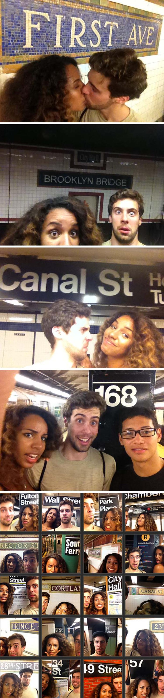 Every Subway Station in Manhattan, photo project by james doernberg and girlfriend kai jordan, took selfie at every subway stop in manhattan in one day