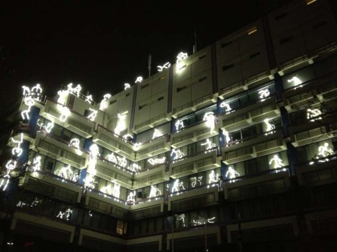 Key Frames, Groupe LAPS light stick figures on balconies in Eindhoven for GLOW 2012 festival