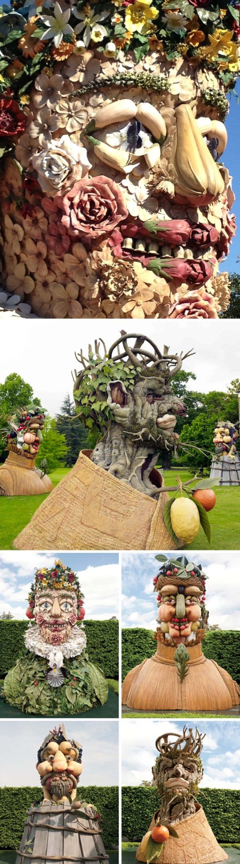 Philip Haas, Four Seasons en Nueva York Botanical Gardens, Escultura.  arcimboldo