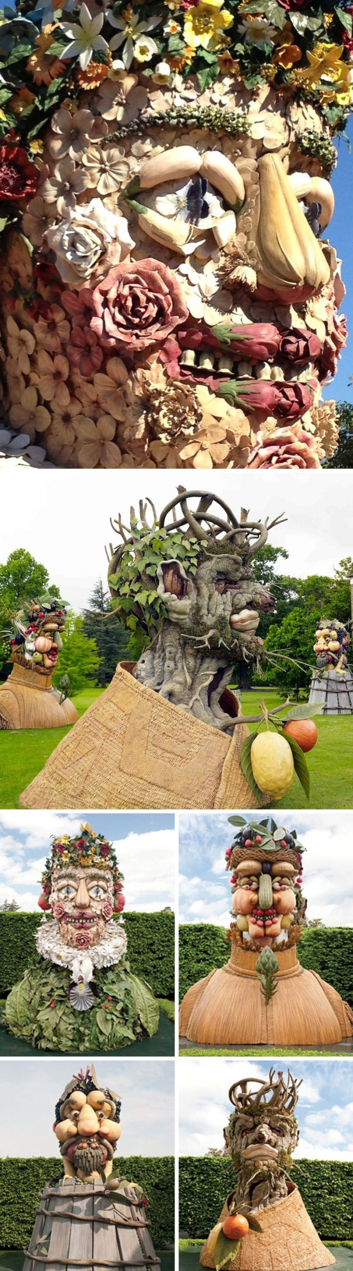 Philip Haas, Four Seasons at New York Botanical Gardens, Sculpture. arcimboldo