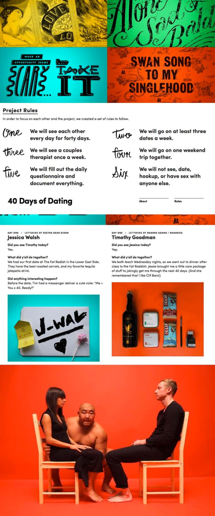 Jessica Walsh and Timothy Goodman, 40 Days of Dating, Typography, Experiment, Fun, Cute, Dating, Friendship
