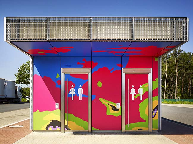 Colorful topographic Rest stop bathrooms in Saxony Germany by Büro Uebele, Motorway Toilets, Map-clad reststops