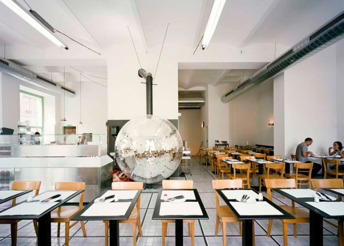 Disco ball pizza oven at Disco Volante in Vienna by Lukas Galehr. Cool pizza oven.