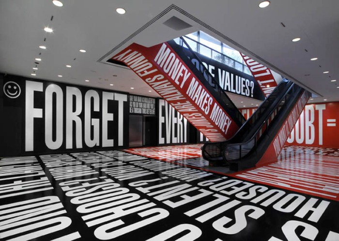 Barbara Kruger, Typography Installation, Hirshhorn Museum lower lobby and escalator, Belief and Doubt