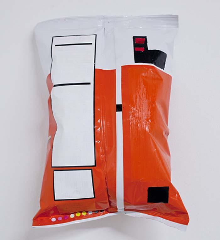 Nobutaka Aozaki, Chips Painting, Chip bags blocked out into abstract art pieces, conceptual art, humorous art