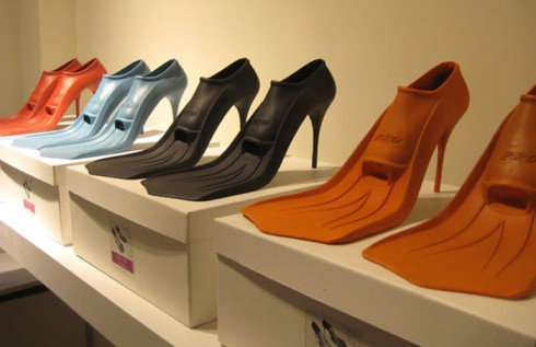 paul-schietekat_High-Tide-Heels, Flipper shoes, funky shoes. Humorous design