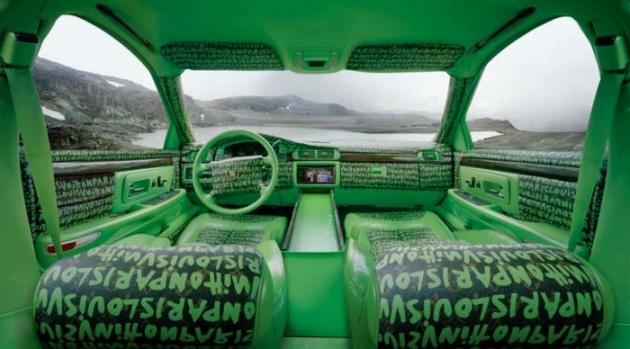 Luis Gispert, Photographs of car interiors decked out in haute coutour logo-clad decor, cool contemporary photography