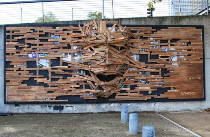 Street Art by Sambre, Le Mur XIII, Paris, Wooden Relief sculptural mural
