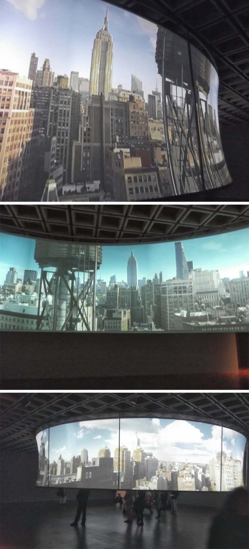 In the Air, A Panoramic Film Installation by T. J. Wilcox. 24hr day in NYC in 30 minutes. Whitney Museum