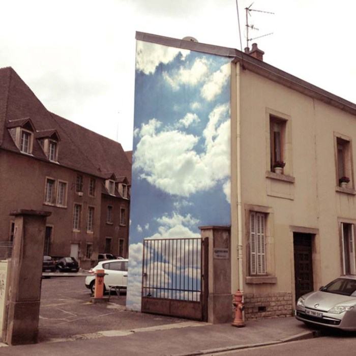 Cloud Project by Benjamin Løzninger, street art, head in the clouds, photography, France, Brooklyn