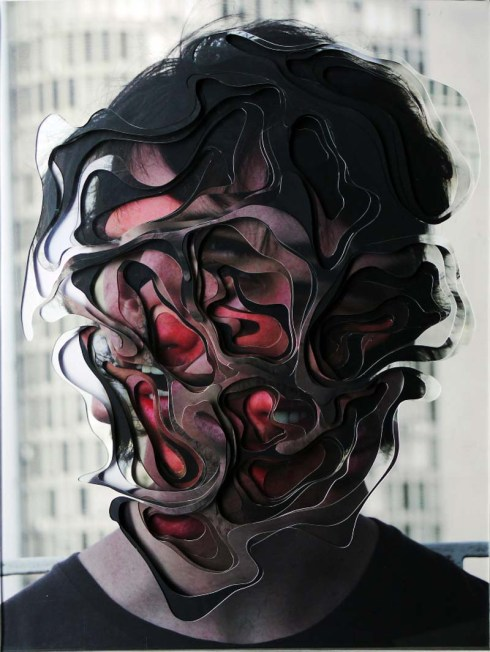 Desretratos by Lucas Simoes; Unportraits. !0 cut and layered photo portraits, Contemporary Brazilian art