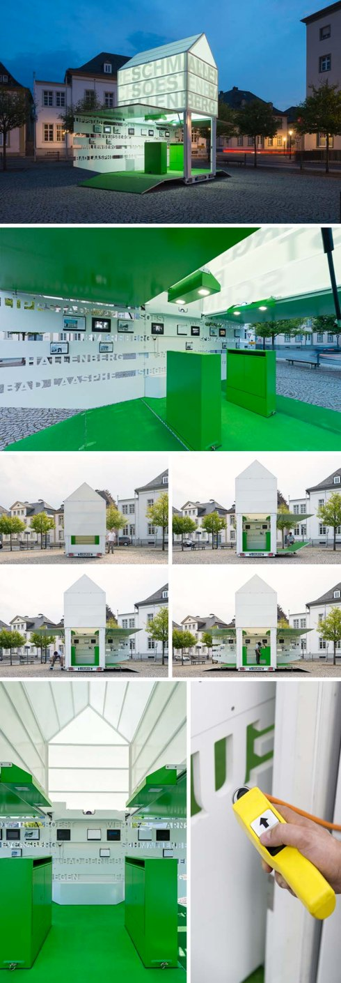 Moving Icon Pop-Up Pavilion in Westphalia, Germany by Kalhöfer-Korschildgen. Pavilion communicates History