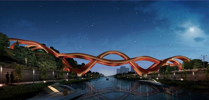 Cool pedestrian bridge design by NEXT Architects for Meixi Lake, Dragon King Harbor River, Mobias strip design
