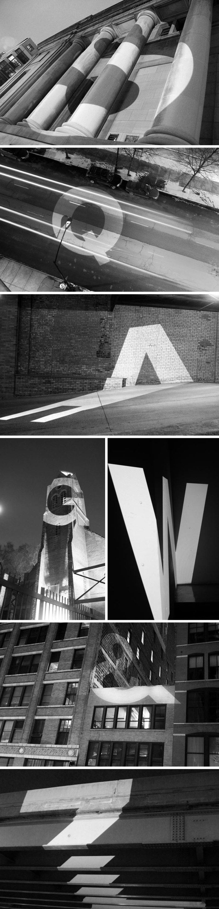 Letters at Large by Audra Hubbell, Large projections of letters with cool effects against architecture. Photographs. Typography