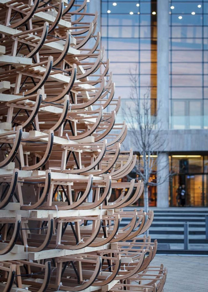 Christmas Tree made with 365 Sleds (sleighs) by Hello Wood in Budapest, Hungary