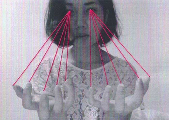 Threaded prints by Mana Morimoto, Fiber Art, Thread through black and white photographs, collage-like, contemporary art