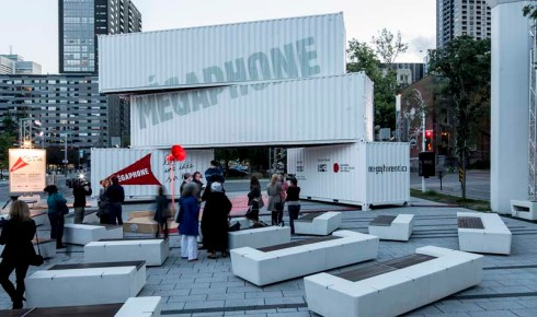 interactive led type facade, Montreal, Megaphone by Moment Factory, typography