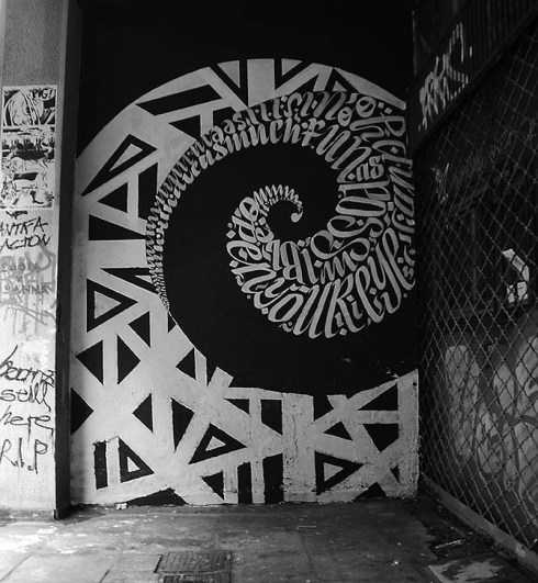 Blaqk Greg Papagrigoriou and Simek Athens street art, typography, calligraphy, black and white