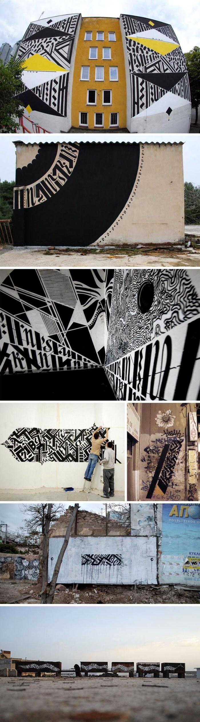 Blaqk Greg Papagrigoriou and Simek Athens street art, typography, calligraphy, black and white
