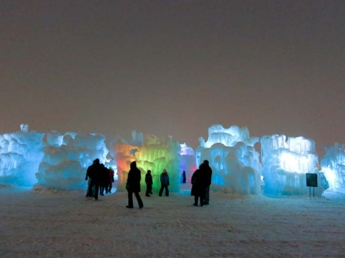 Ice Castles in Midwest America. Manmade ice mazes, amazing ice sculptures.