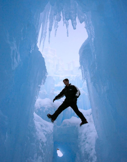 Ice Castles in Midwest America. Manmade ice mazes, amazing ice scultpures.