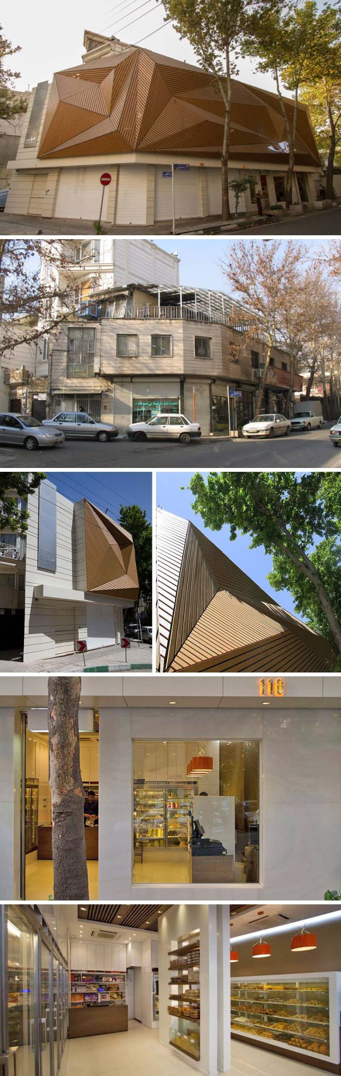Nakhlak Confectionery, Tehran, Iran. Interesting building renovation with a prismatic facade made of wood