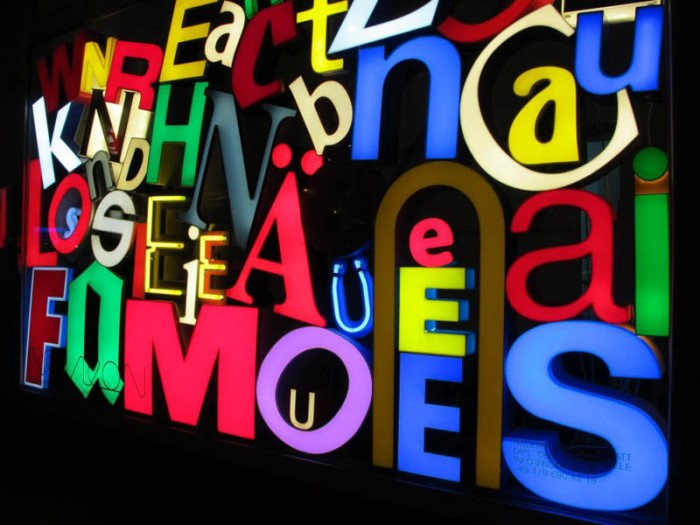 Noneon, recycled sign letters converted into lights by Fabian Thiele. Frankfurt