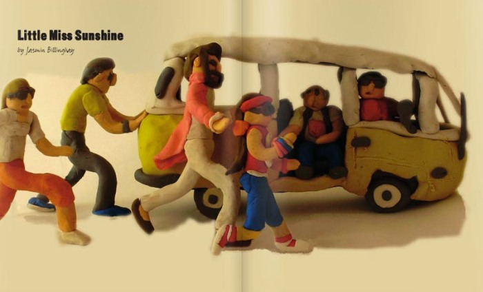 movie scenes made out of plasticine, modelling clay, little miss sunshine