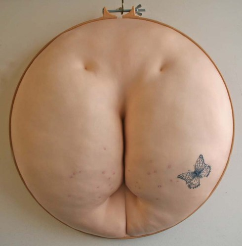 Sally Hewett, Embroidered stomachs, breasts, butts, lips, in quilting hoops, contemporary art, sculpture