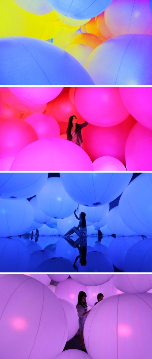 teamLAB, Interactive Installation, Large balls that change color and sound with touch. Contemporary Art at Hong Kong Arts Centre. A Journey through art and technology