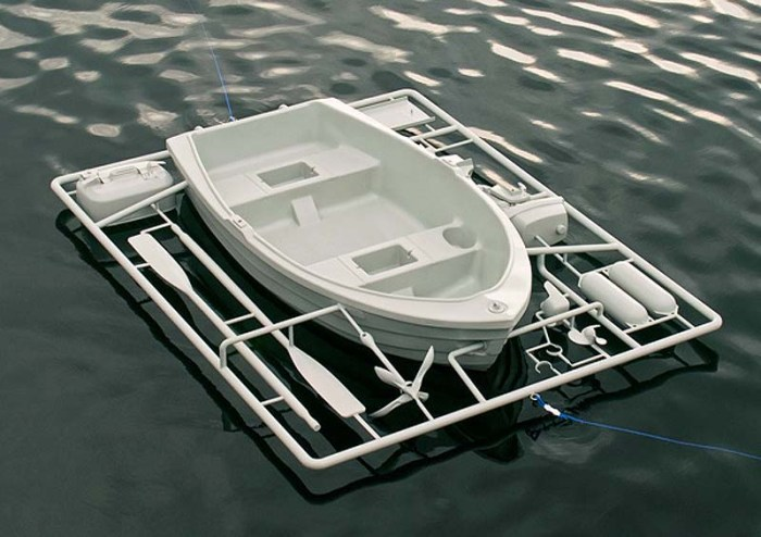 Michael Johansson, everyday objects and toy-model-like sculptures, contemporary, humorous, sculpture, dinghy