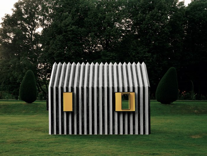 Chameleon Cabin, White Architects, Sweden, reversible paper cabin, white marble from one side, black marble opposite side