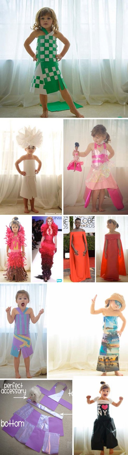 Paper dresses made by a 4-year-old and her mother, dresses made from paper, Fashion by Mayhem, 2sisters_angie, crafts with kids, fun
