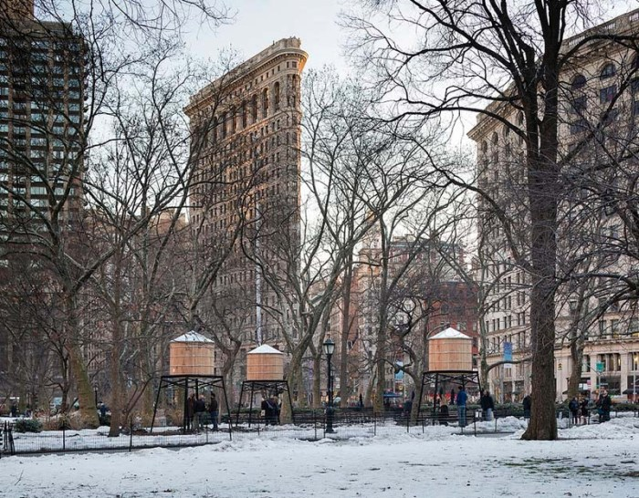 Ivan Navarro, Water Tower neon light art installation, This Land is Your Land, Madison Square Park, NYC