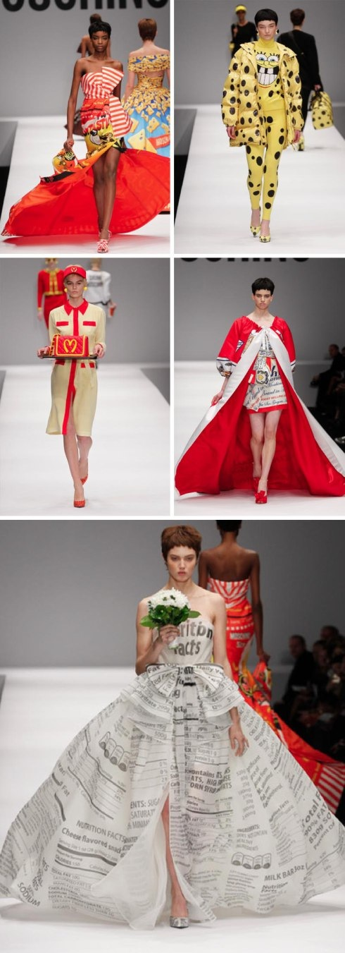 jeremy scott, moschino, fast fashion, food packages as clothes