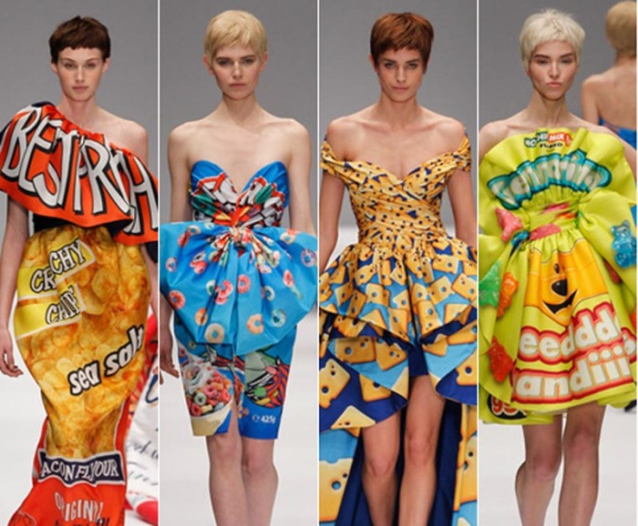Jeremy Scott, Fast Fashion Collection for Moschino, food packaging as clothing print
