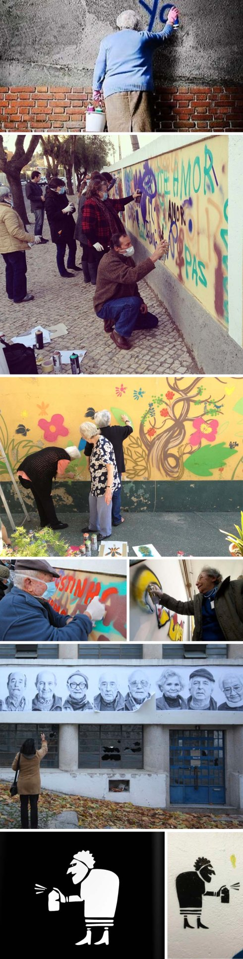 LATA 65, project by Wool and Lara Seixo Rodrigues to provide quality of life and creativity to the elderly with street art, Lisbon