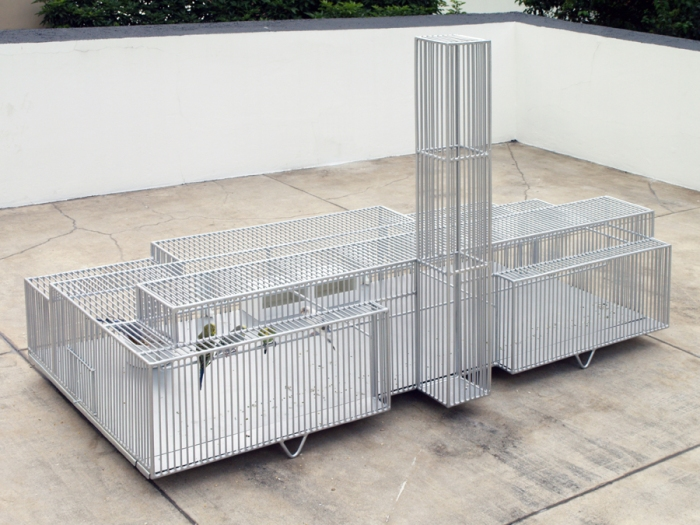 bird cages in shape of museums, guggenheim, tate, MASP, new museum, by marlon de azambuja. Contemporary sculpture, art