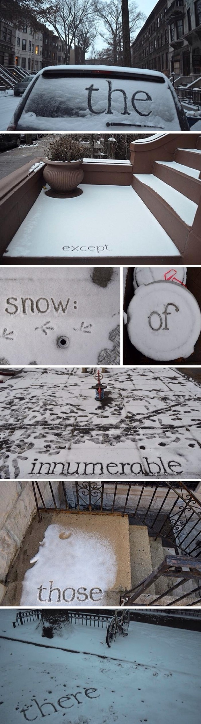 Shelley Jackson writes words in the snow to create a story on instagram, typography in snow, nyc